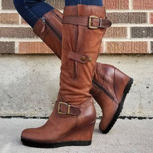 Women's Buckle Zipper Mid-Calf Boots Wedge Heel Boots (1492261)
