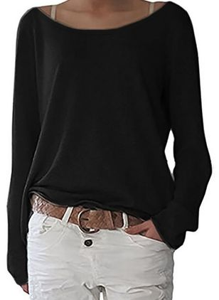 Boat Neckline Solid Casual Loose Regular Shift Sweaters