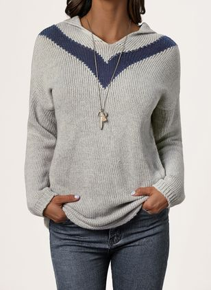 Hooded Solid Casual Regular Shift Sweaters (1429259)