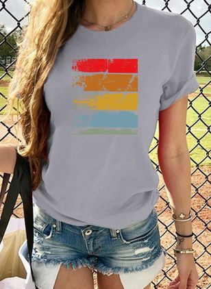 Color Block Round Neck Short Sleeve Casual T-shirts (4101655)