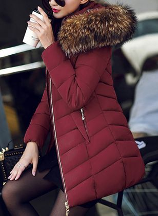 Long Sleeve Hooded Zipper Padded Coats (1370784)