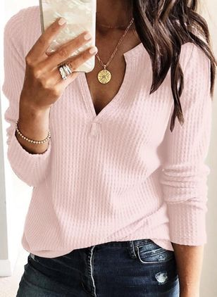 Solid Casual V-Neckline Long Sleeve Blouses (106703716)