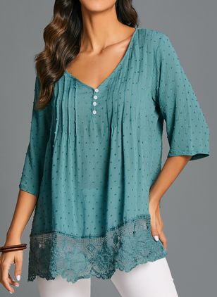 Plus Size Solid Casual V-Neckline 3/4 Sleeves Blouses (103038095)