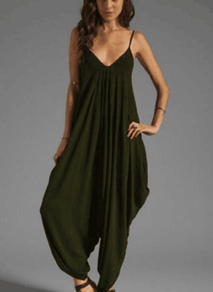 Solid Sleeveless Jumpsuits & Rompers (1489671)