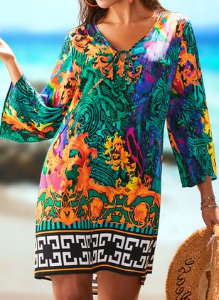 Polyester High Neckline Pattern Cover-Ups Swimwear (1525303)