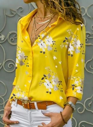 Floral Elegant Collar Long Sleeve Blouses (1421574)
