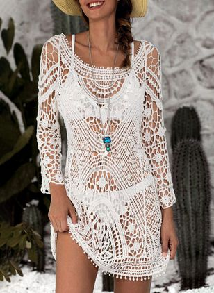 Polyester Crochet Cover-Ups Swimwear (1370882)