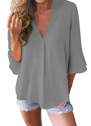 Solid Casual V-Neckline 3/4 Sleeves Blouses (106703717)