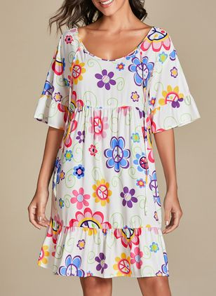 Casual Floral Tunic V-Neckline Shift Dress (103038111)
