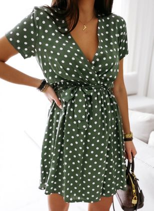 Casual Polka Dot Wrap V-Neckline X-line Dress (103038279)
