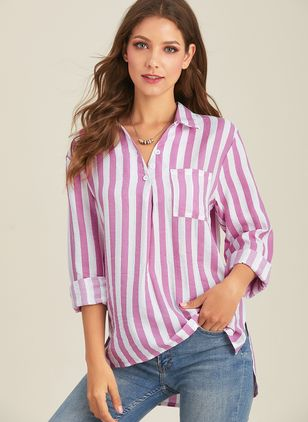 Stripe Casual Collar Long Sleeve Blouses (1492346)