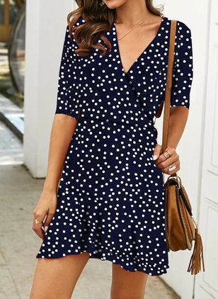 Casual Polka Dot Shirt V-Neckline Shift Dress (103038161)