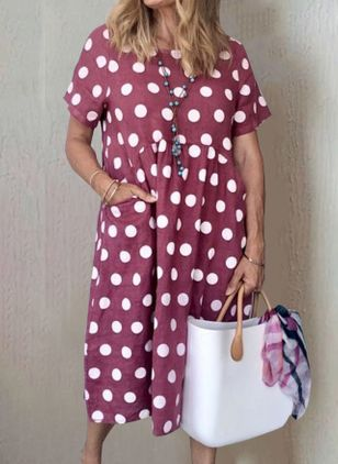 Casual Polka Dot Tunic Round Neckline Shift Dress (103038129)