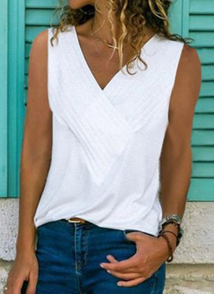 Solid V-Neckline Sleeveless Casual T-shirts