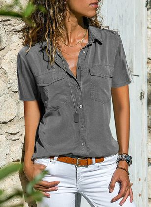 Solid Casual Collar Short Sleeve Blouses (1492288)