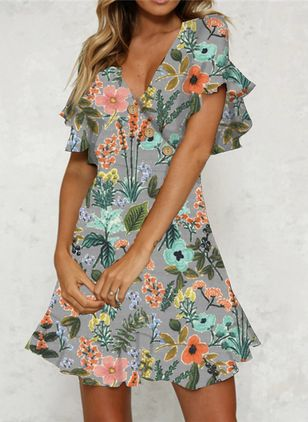 Casual Floral Shirt V-Neckline Shift Dress (103038184)