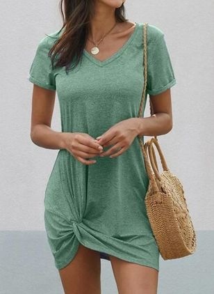 Casual Solid Shirt V-Neckline Shift Dress