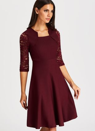 Solid Skater Round Neckline Knee-Length A-line Dress (1489705)