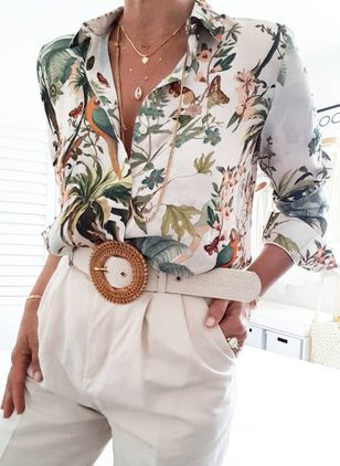 Floral Elegant Collar Long Sleeve Blouses (1492278)
