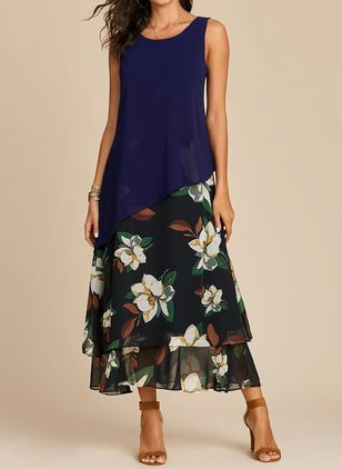 Casual Floral Round Neckline Maxi A-line Dress (1359502)