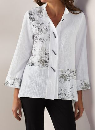 Floral Casual Long Sleeve Blouses (1492295)
