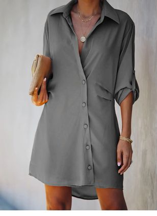 Casual Solid Tshirt V-Neckline T-shirt Dress (106704256)