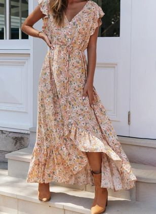 Casual Floral Wrap V-Neckline X-line Dress (103038200)