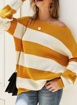 Round Neckline Stripe Casual Regular Shift Sweaters