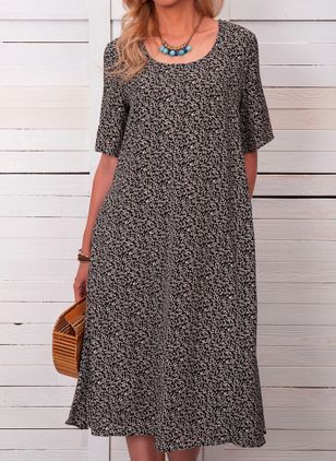 Casual Floral Tunic Round Neckline Shift Dress (103038225)