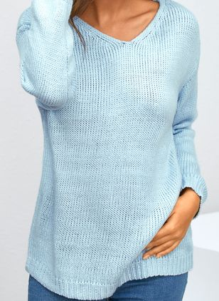 V-Neckline Solid Casual Loose Long Shift Sweaters (1356843)