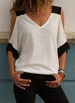 Color Block V-Neckline 3/4 Sleeves Casual T-shirts (103038340)
