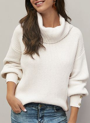 High Neckline Solid Casual Loose Buttons Sweaters