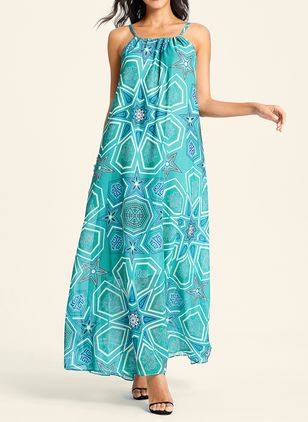 Geometric Peasant Halter Neckline Maxi A-line Dress (103038114)