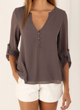 Solid Casual V-Neckline Long Sleeve Blouses (1459907)