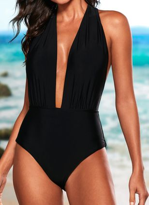 Spandex Nylon Halter Solid One-piece Swimwear (1489567)