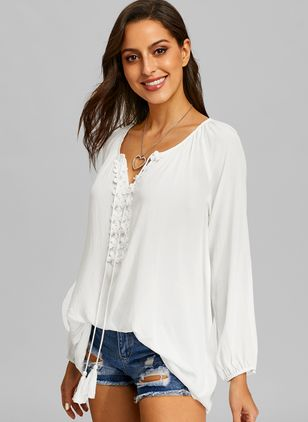 Solid V-Neckline Long Sleeve Blouses (1356022)