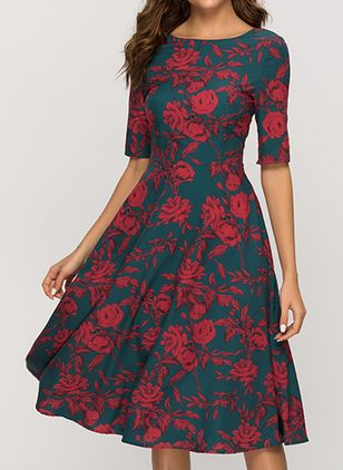 Elegant Floral Round Neckline Knee-Length X-line Dress (1355668)