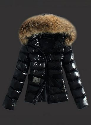 Long Sleeve Hooded Sashes Zipper Unremovable Fur Collar Padded Coats (1356956)