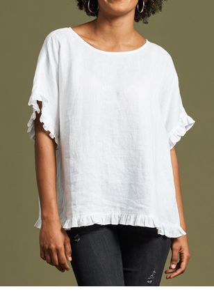 Solid Casual Round Neckline Short Sleeve Blouses (1540328)