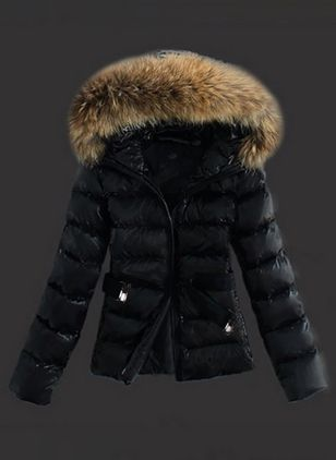 Long Sleeve Hooded Sashes Zipper Unremovable Fur Collar Padded Coats (1370766)
