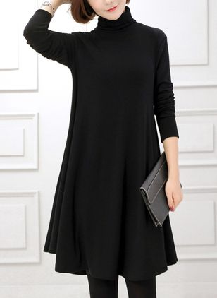 Casual Solid Long Sleeve Knee-Length Dress (4101627)