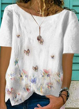 Floral Round Neck Short Sleeve Casual T-shirts (1525450)