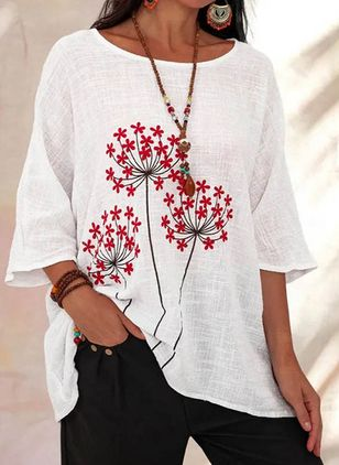Floral Casual Round Neckline 3/4 Sleeves Blouses (103038301)