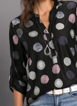 Polka Dot Casual Stand Collar Long Sleeve Blouses (1370496)