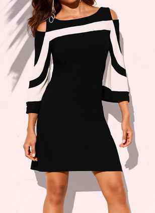 Chic Color Block Round Neckline Above Knee X-line Dress (103038167)