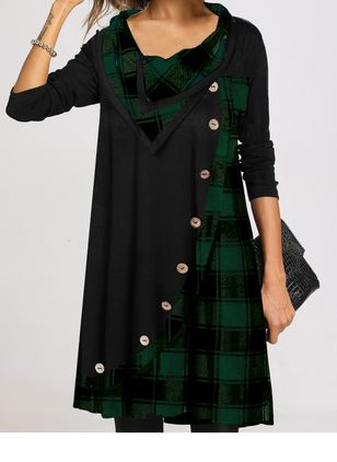 Casual Plaid Tunic Draped Neckline Shift Dress (125152940)