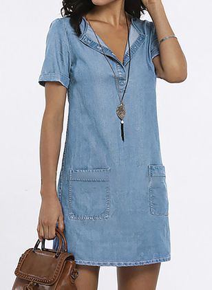 Casual Solid Tunic V-Neckline Shift Dress (1526425)