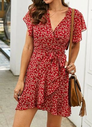 Casual Polka Dot Shirt V-Neckline A-line Dress (103038143)