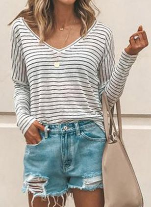 Stripe Casual Round Neckline Long Sleeve Blouses (1397620)