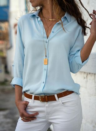 Solid Casual V-Neckline Long Sleeve Blouses (1425783)
